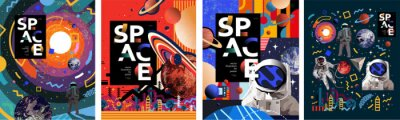 Fototapeta Space. Vector abstract illustrations of an astronaut, planets, galaxy, mars, future, earth and stars. Science fiction drawing for poster, cover or background