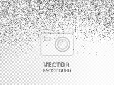 Fototapeta Spadające konfetti brokatowe. Wektor srebrny pył na przezroczystym tle. Lśniąca brokatowa granica, świąteczna rama.