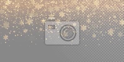 Fototapeta Spadający płatek śniegu złoty wzór tła. Złota opadów śniegu nakładki tekstury samodzielnie na przezroczystym białym tle. Zima Xmas śnieżynka elementsfor Boże Narodzenie nowy rok wakacje szablon projek