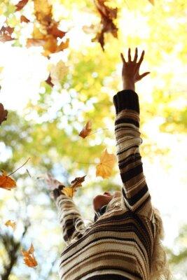 Fototapeta Spadek kobieta pozostawia w parku jesienią