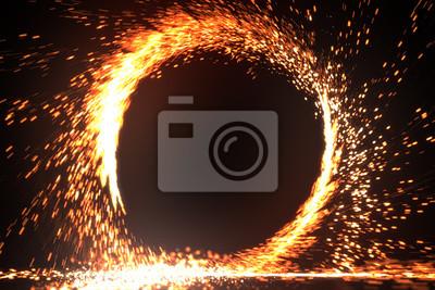 Fototapeta Sparking wzór ognia lub okr? G ognia lub fajerwerków na czarnym tle. 3d ilustracji