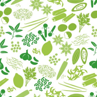 Fototapeta spices and seasonings icons color seamless pattern eps10