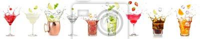 Fototapeta splashing cocktails collection isolated on white background.