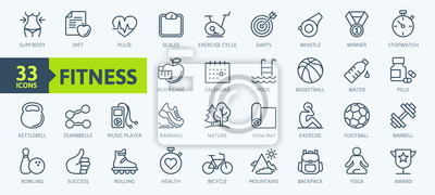 Fototapeta Sport and fitness - minimal thin line web icon set. Outline icons collection. Simple vector illustration.