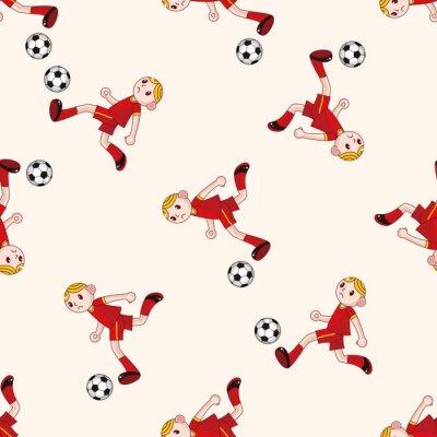 Fototapeta Sport piłkarz, cartoon bezszwowe tło wzór