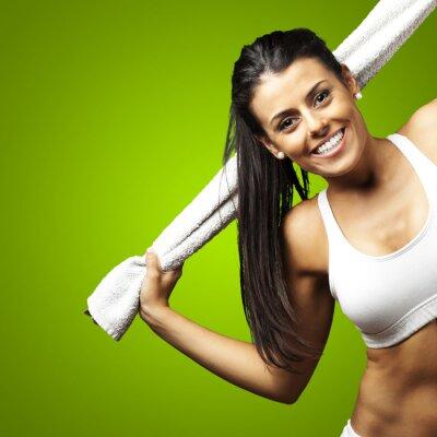 Fototapeta Sportowy kobieta ręcznik