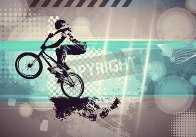 Fototapeta Sporty ekstremalne, BMX Rider. Styl vintage ilustracji