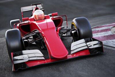 Fototapeta Sporty motorowe wyścig samochodowy przednia kątowy widok przyspieszenie w dół ścieżkę. 3d renderowania