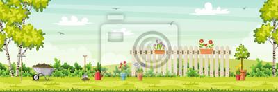 Fototapeta Spring landscape with garden tools, vector illustration