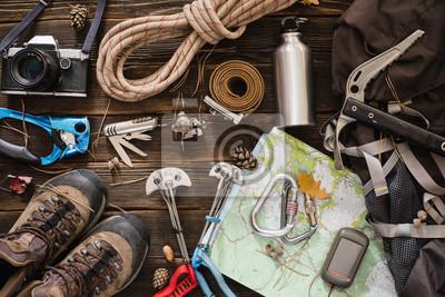 Fototapeta Sprzęt niezbędny do wspinaczki i wędrówki