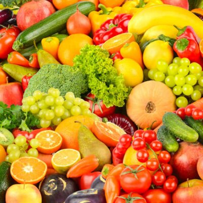Fototapeta Square background made of vegetables and fruits. Food concept. Top view