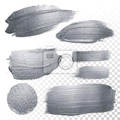 Fototapeta Srebny błyskotliwość farby muśnięcia i plamy ustawiający okręgu lub abstrakta smoka upaćkana tekstura na przejrzystym tle. Wektor na białym tle błyszczące srebrne farby rozchlapać plama dla luksusowyc