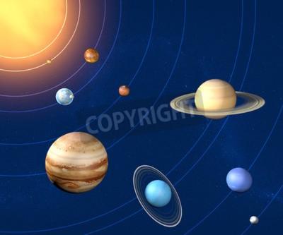 Fototapeta średnica planety Układu Słonecznego, rozmiary i wymiary
