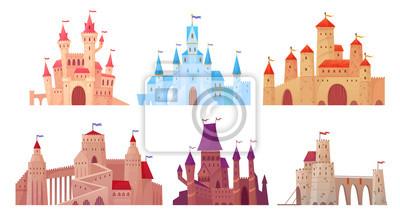 Fototapeta Średniowieczne wieże zamkowe. Zewnętrzna rezydencja Fairytail, zamki twierdzy króla i warowny pałac z bramą kreskówka wektor zestaw