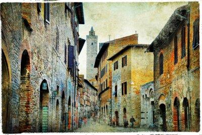 Fototapeta średniowieczny Toskania. Streets of San Gimignano