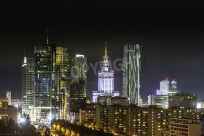 Fototapeta Śródmieście w Warszawie w nocy, Polska