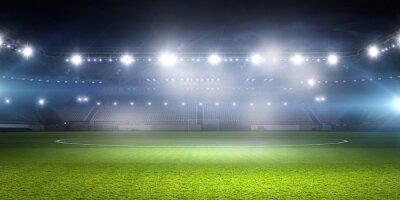 Fototapeta Stadion piłkarski w światłach. różne środki przekazu