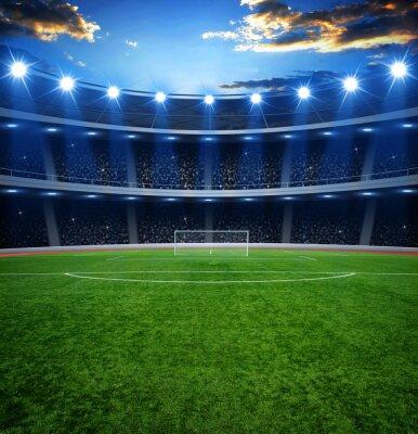 Fototapeta stadion piłkarski z jasnymi światłami