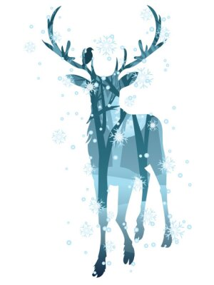 Fototapeta Stag Silhouette with Forest