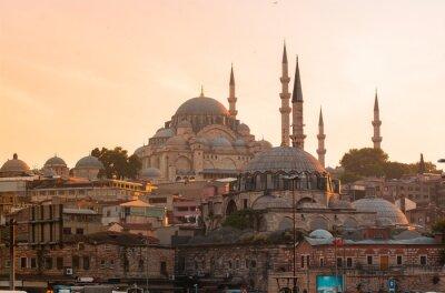 Stambuł, Turcja, Błękitny Meczet, Sultanahmet o zachodzie słońca.