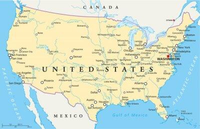 Fototapeta Stany Zjednoczone mapa polityczna