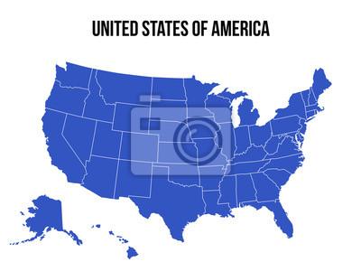 Fototapeta Stany Zjednoczone Mapa USA wektor na białym tle