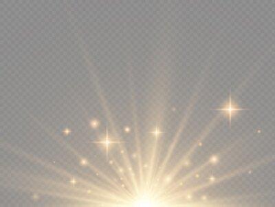 Fototapeta Star explosion, yellow glow lights sun rays.