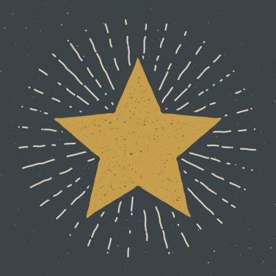 Fototapeta Star symbol vintage label, grunge textured retro badge, typography design vector illustration