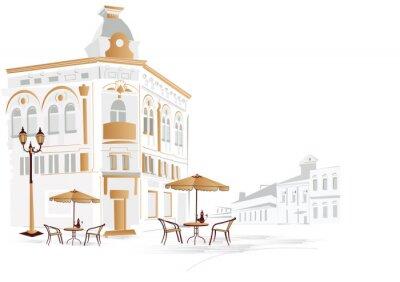 Fototapeta Stara część miasta z kawiarni