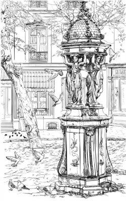 Fototapeta Stara fontanna w dzielnicy Montmartre - Paryż