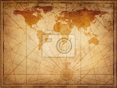 Stara mapa świata. Elementy dostarczone przez NASA tego obrazu.