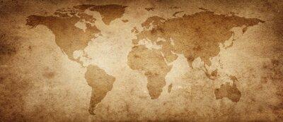 Stara mapa świata na starym tle pergaminu. Zabytkowy styl. Elementy tego obrazu dostarczone przez NASA.