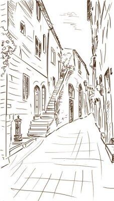 Fototapeta Stare budynki w typowo średniowiecznego miasta włoskiego - ilustracja