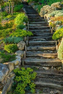 Fototapeta Stare drewniane schody na zewnątrz na wymiar • w górę, widok, drewno • REDRO.pl