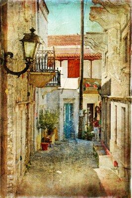 Fototapeta stare greckie ulice - artystyczny obraz