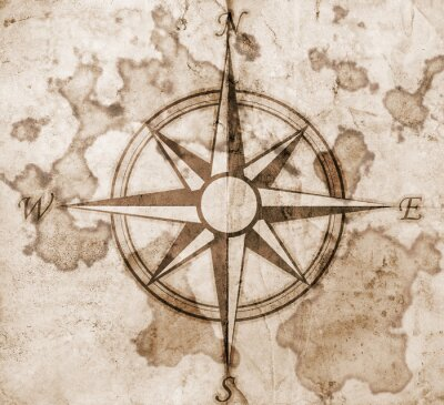 Fototapeta Stare Kompas na tle papieru