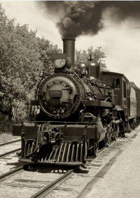Fototapeta Stare lokomotywy sepia