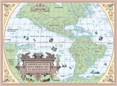 Fototapeta Stare mapy Ameryki Północnej i Południowej