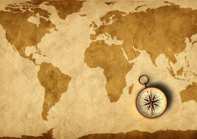 Fototapeta Stare mapy i kompasu