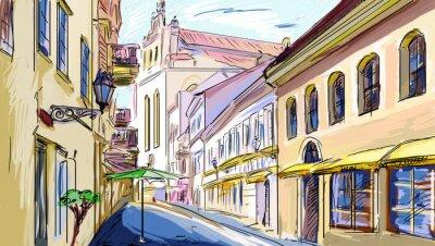 Fototapeta Stare Miasto - ilustracji