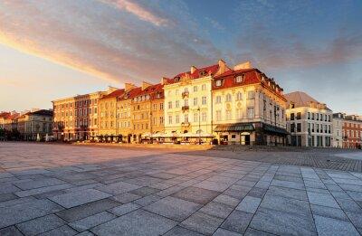 Fototapeta Stare miasto kwadrat, Warszawa, Polska - Plac Zamkowy o świcie, nobod