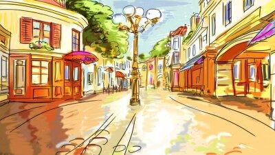 Fototapeta Stare Miasto - szkic ilustracji
