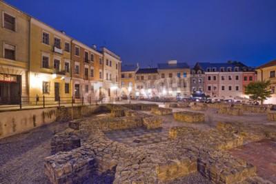 Fototapeta Stare Miasto w Lublinie w nocy, Polska