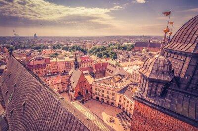 Fototapeta Stare Miasto widziane z Mariackiej wieży, Kraków, Polska