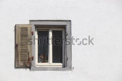 Fototapeta stare okna w wieku okno dziura dom dom budynek vintage grunge wheatered kamienne ściany szkło z drewna