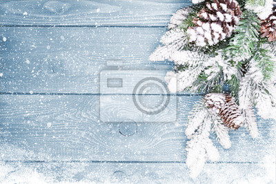 Fototapeta Stare tekstury drewna z śniegu i firtree