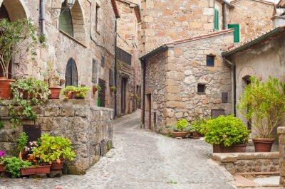 Fototapeta Stare uliczki w miejscowości Sorano, Włochy