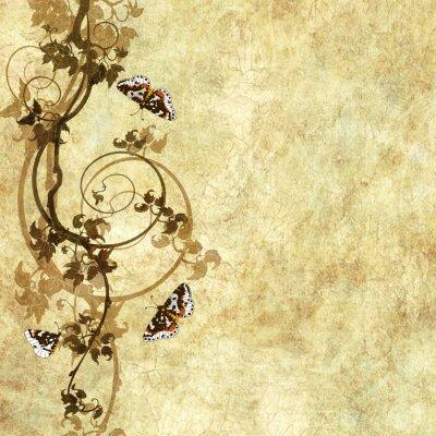 Fototapeta starego papieru z wzorem kwiatowym, winogron i motyli
