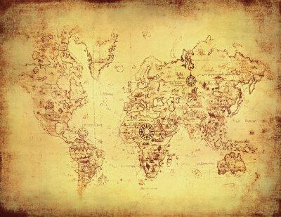 Fototapeta Starożytna mapa świata.