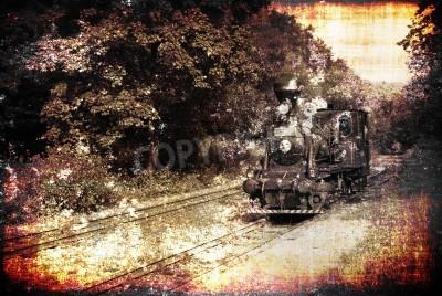 Fototapeta Starożytne parowóz na vintage kolejowe, mocno teksturowane, aby osiągnąć maksymalny efekt rocznika